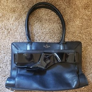Black Kate Spade Leather Bow Tote